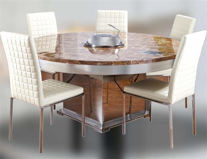 现代中式大理石火锅餐桌 蒸汽火锅桌