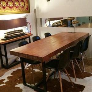 高档餐厅铁艺实木餐桌 会议室超厚实木多人吧台 牛排馆桌子