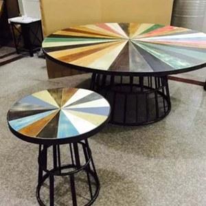 餐厅缕空铁艺框架吧台 七彩色时尚实木餐桌 咖啡厅工业风餐桌