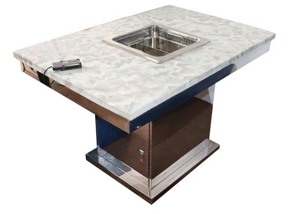 白色大理石无烟升降火锅一体桌_亮光不锈钢方形底座