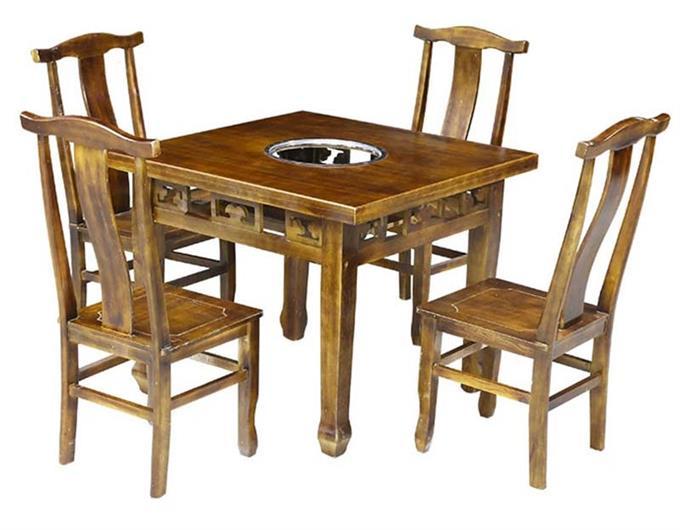 实木仿古雕花碳化火锅桌椅组合