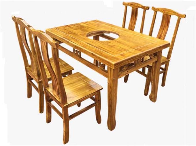 长方形火锅店雕花实木火锅桌 炭化木餐桌椅组合