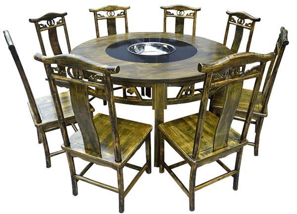 实木仿古雕花桌椅重庆老火锅中式圆桌