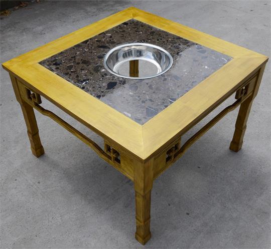 中式复古实木雕花大理石正方形火锅桌椅